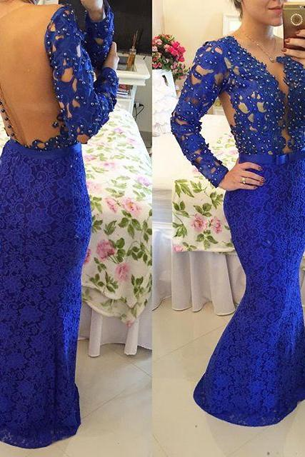 Royal Blue Long Sleeved Prom Dresses