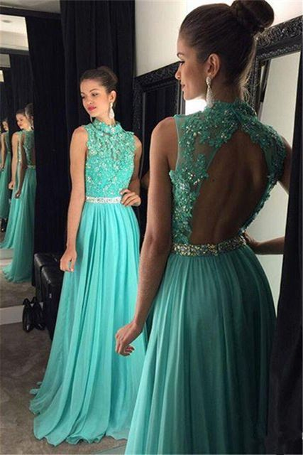 Beaded Prom Dress with Open Back