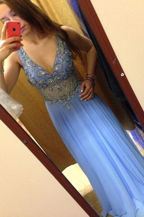 V Neck Chiffon Prom Dress with Beads
