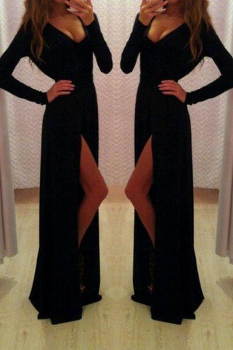 Long Sleeved Black Dress with Side Slit
