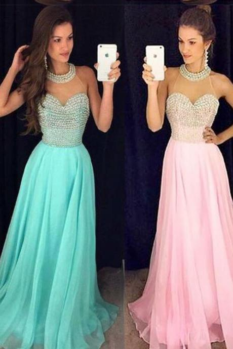 Sheer Neck Prom Dress Party Dress with Beading
