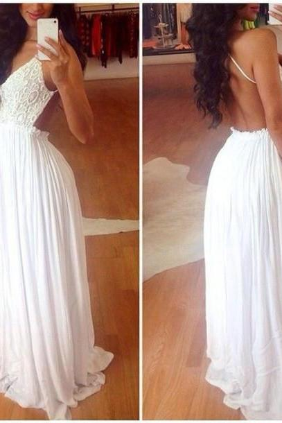 Backless Boho Prom Dress Bridal Dress