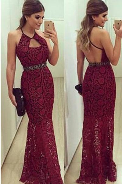 Burgundy Lace Prom Dress Open Back