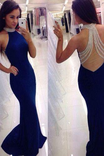 Royal Blue Halter Prom Dress with Beaded Sheer Back