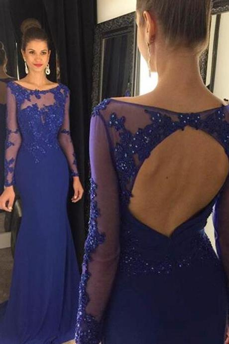Long Sleeved Formal Prom Dress with Open Back