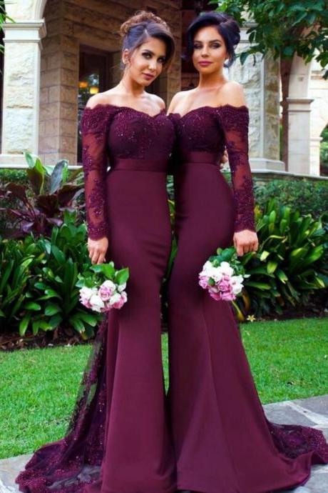 Burgundy Off the Shoulder Formal Occasion Dress with Long Sleeves