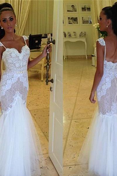 White Mermaid Wedding Dress with Spaghetti Straps