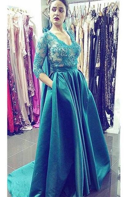 Emerald Green Floor Length Formal Occasion Dress with Half Sleeves
