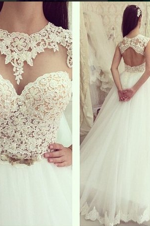 Illusion Sweetheart Neckline Wedding Dress with Beaded Lace Bodice