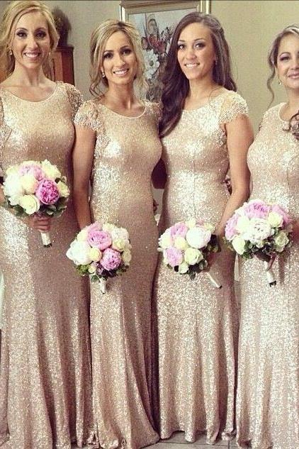 Long Sequin Bridesmaid Dress Wedding Guest Dress with Lace Cap Sleeves