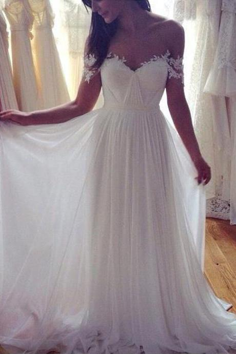 Off the Shoulder Ivory Chiffon Bridal Wedding Dress