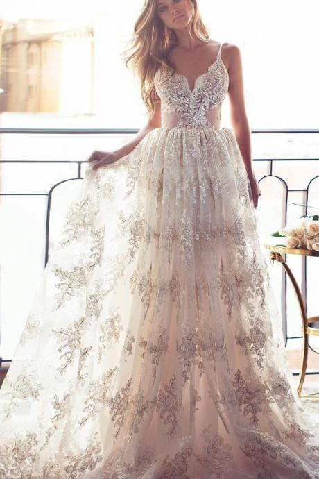 Blush Lace Wedding Dress with Low Back