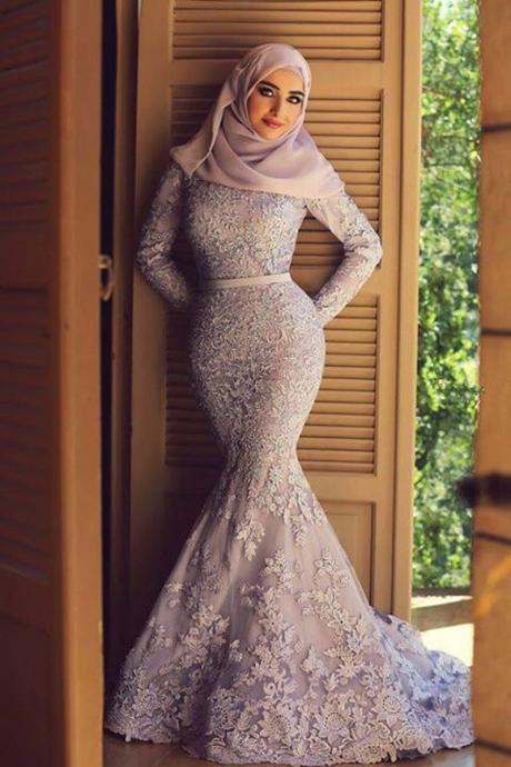 Muslim Long Sleeves Gray Lace Dress